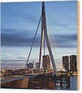 Erasmus Bridge And City Skyline Of Rotterdam At Dusk Wood Print