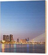Erasmus Bridge In Rotterdam At Dusk Wood Print