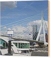 Erasmus Bridge In Rotterdam City Downtown Wood Print by Artur Bogacki
