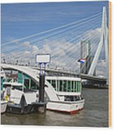Erasmus Bridge In Rotterdam Downtown Wood Print by Artur Bogacki