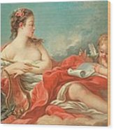 Erato  The Muse Of Love Poetry Wood Print by Francois Boucher