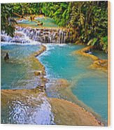 Erawan Waterfalls Thailand Wood Print