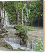 Erawan National Park In Thailand Wood Print