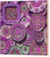 Erice Sicily Plates Pink Wood Print