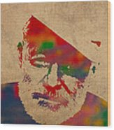 Ernest Hemingway Watercolor Portrait On Worn Distressed Canvas Wood Print
