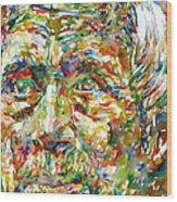 Ernst Junger Watercolor Portrait Wood Print