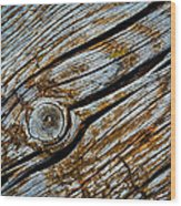 Eroded Old Wooden Board Wood Print