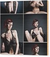 Erotic Beauty Collage 23 Wood Print
