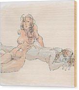 Erotic Drawings 18 Wood Print
