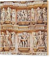 Erotic Human Sculptures Khajuraho India Wood Print