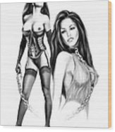 Erotic Lesbian Pet By Spano Wood Print