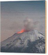 Eruption Of A Volcanoe At Night Wood Print
