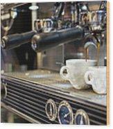 Espresso Machine Pouring Coffee Into Wood Print