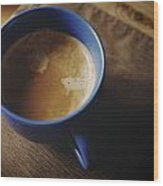 Espresso With Cream In Blue Porcelain Wood Print