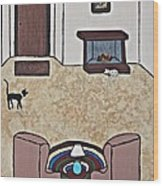 Essence Of Home - Black And White Cat In Living Room Wood Print