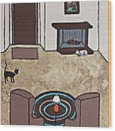 Essence Of Home - Cat By Fireplace Wood Print
