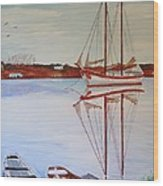 Essex Harbor Reflections Wood Print