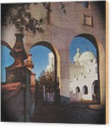 Esther Henderson Photo Back North Entrance  Of San Xavier Mission Tucson Arizona 1957-2013  Wood Print