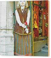 Estonian Greeter In Old Town Tallinn-estonia Wood Print