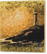 Ethereal Lighthouse Wood Print