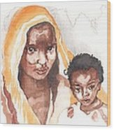 Ethiopean Mother And Child Wood Print