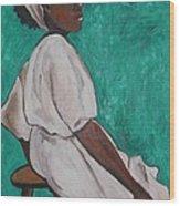 Ethiopian Woman In Green Wood Print