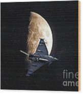 Eurofighter Against A Harvest Moon Wood Print by Peter McHallam