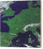Europe From Above Wood Print