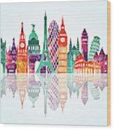 Europe Skyline Detailed Silhouette Wood Print