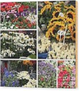 European Flower Market Collage Wood Print