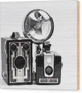 European Travelers Mother And Daughter Cameras Bw Wood Print