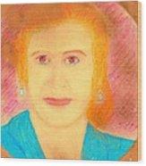Eva Peron Orange Wood Print