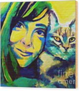 Evangelina And The Cat Wood Print