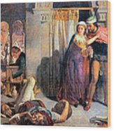 Eve Of Saint Agnes The Flight Of Madelein The Drunkenness Attending The Revelry Wood Print