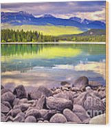 Evening At Lake Annette Wood Print