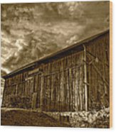 Evening Barn Sepia Wood Print