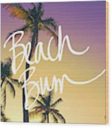 Evening Beach Bum Wood Print