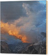Evening Clouds And Half Dome At Yosemite Wood Print