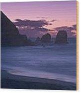 Evening Comes To Rockaway Beach Wood Print