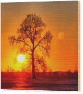 Evening Ember Sunset Wood Print