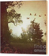 Evening Flying Geese Wood Print