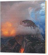 Evening Glow On Half Dome In Yosemite Wood Print