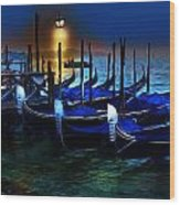 Evening Gondola Wood Print