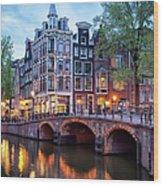 Evening In Amsterdam Wood Print