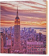 Evening In New York City Wood Print by Sabine Jacobs