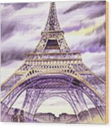 Evening In Paris A Walk To The Eiffel Tower Wood Print
