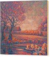 Evening In Tarasovka. Wood Print
