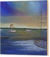 Evening In The Harbor Wood Print