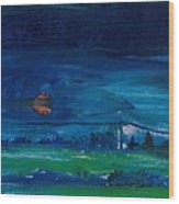 Evening Landscape Oil On Canvas Wood Print