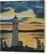 Evening Lighthouse In Stained Glass Wood Print